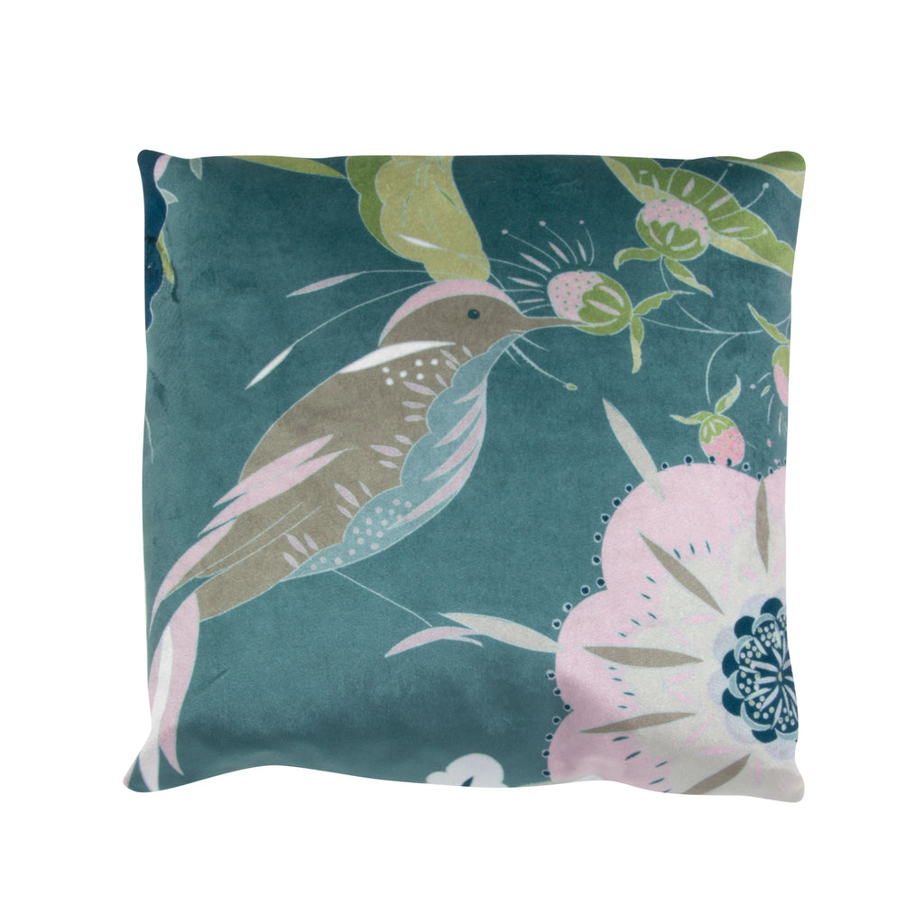 Velvet pillow, botanical bird