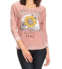 Full Moon Sunflower Burnout Dolman