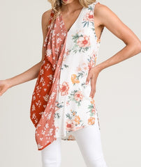 Mixed Floral Ruffle Tunic