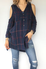 Plaid Cold Shoulder Tunic