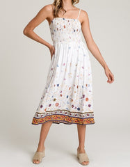 Butterfly Smocking Midi Dress