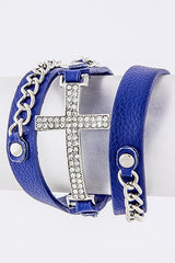 Chain Side Cross Wrap Bracelet