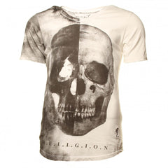 Religion Skull Half Scoop Neck Tee