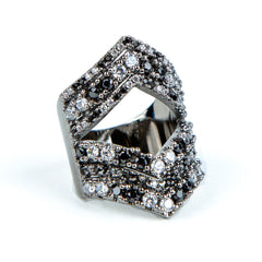 Black Triple Open Diamond Cleo Ring