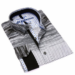 Gray Diamonds Brush Stroke Button Down