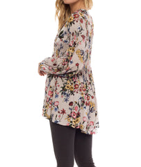 Taupe Floral Boho Tunic Dress