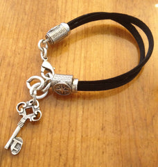 Reception Black Nylon Key Bracelet