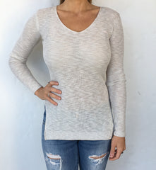 Ivory Light-Knit V-Neck Sweater