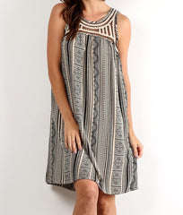 Embroidered Neck Aztec Dress