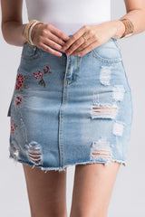 Distressed Floral Patch Denim Skirt