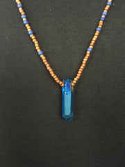 Blue Quartz Rust Bead Necklace