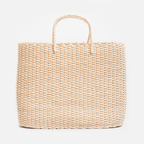 Solid and sustainable handmade straw market bag  (front view)