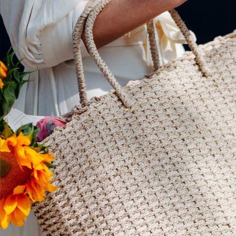 Close up of brigette basket bag