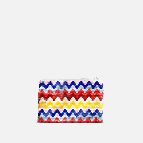 Beaded coin purse with chevron pattern