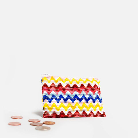 Handmade beaded coin purse with chevron pattern (front view)