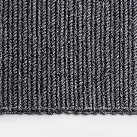 Solid and Sustainable handwoven dark grey doormat (zoomed top view)