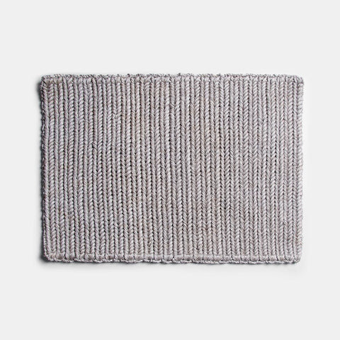 Solid and Sustainable handwoven light grey doormat (top view)