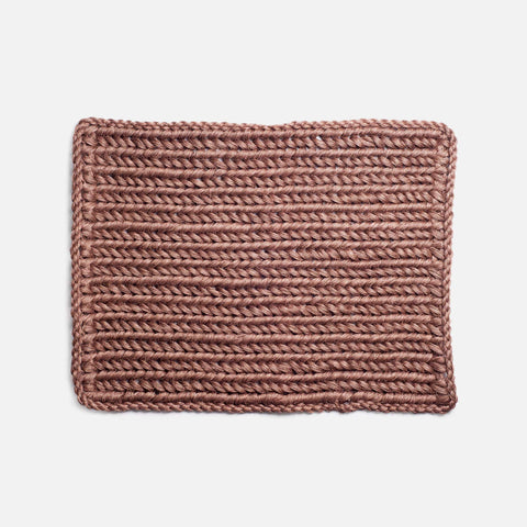 Solid and Sustainable handwoven walnut brown doormat (top view)