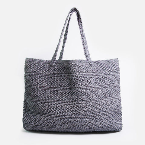Solid and sustainable handwoven crochet blue grey tote (front view)