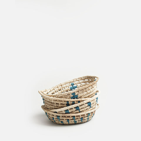 Natural Blue Little Woven Basket