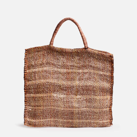 Solid and sustainable handwoven flat market bag in muted brow (front view)