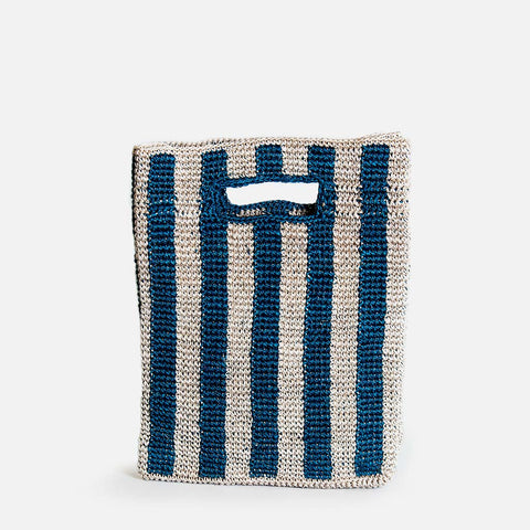 Solid and sustainable handwoven blue stripes handbag (front view)