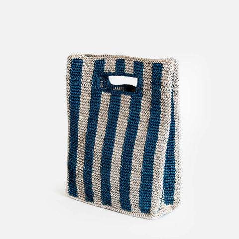 Solid and sustainable handwoven blue stripes handbag (side view)