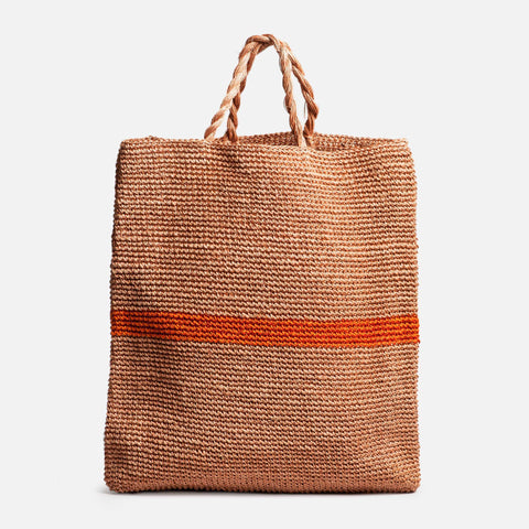 Solid and Sustainable handwoven market bag with twisted handles (front view)