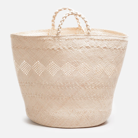 Solid and sustainable large handwoven straw basket bag (front view)