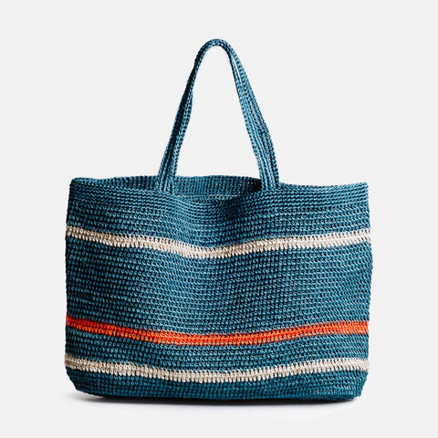 Solid and sustainable handwoven crochet multicolored tote (front view)