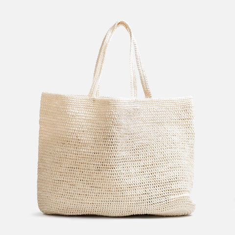Solid and sustainable handwoven crochet cream white tote (front view)