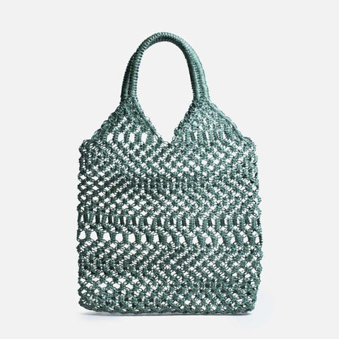 Woven crochet mesh market bag (Front view)