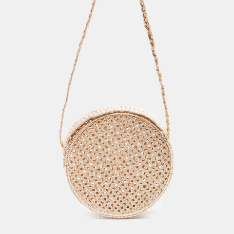 Solid and sustainable handmade straw circle crossbody bag (front view)