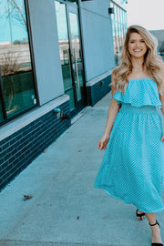 POLKA DOT STRAPLESS MIDI DRESS