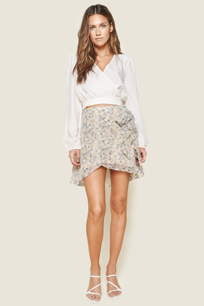 FLORAL FAUX WRAP SKIRT