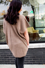 V NECK PONCHO SWEATER