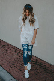 SCOTTIE TIE DYE DISTRESSED OVERSIZED TEE