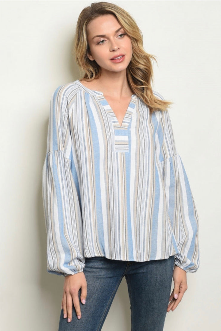 BALLOON SLEEVE STRIPED TUNIC