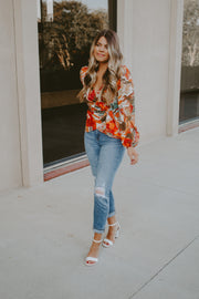 ROWAN PRINTED WRAP TOP