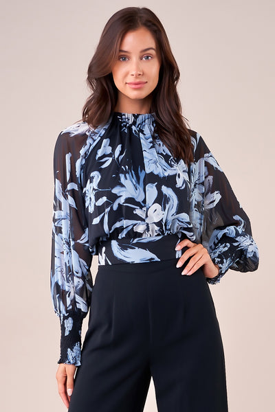 ELLIANA FLORAL MOCK NECK CROPPED BLOUSE