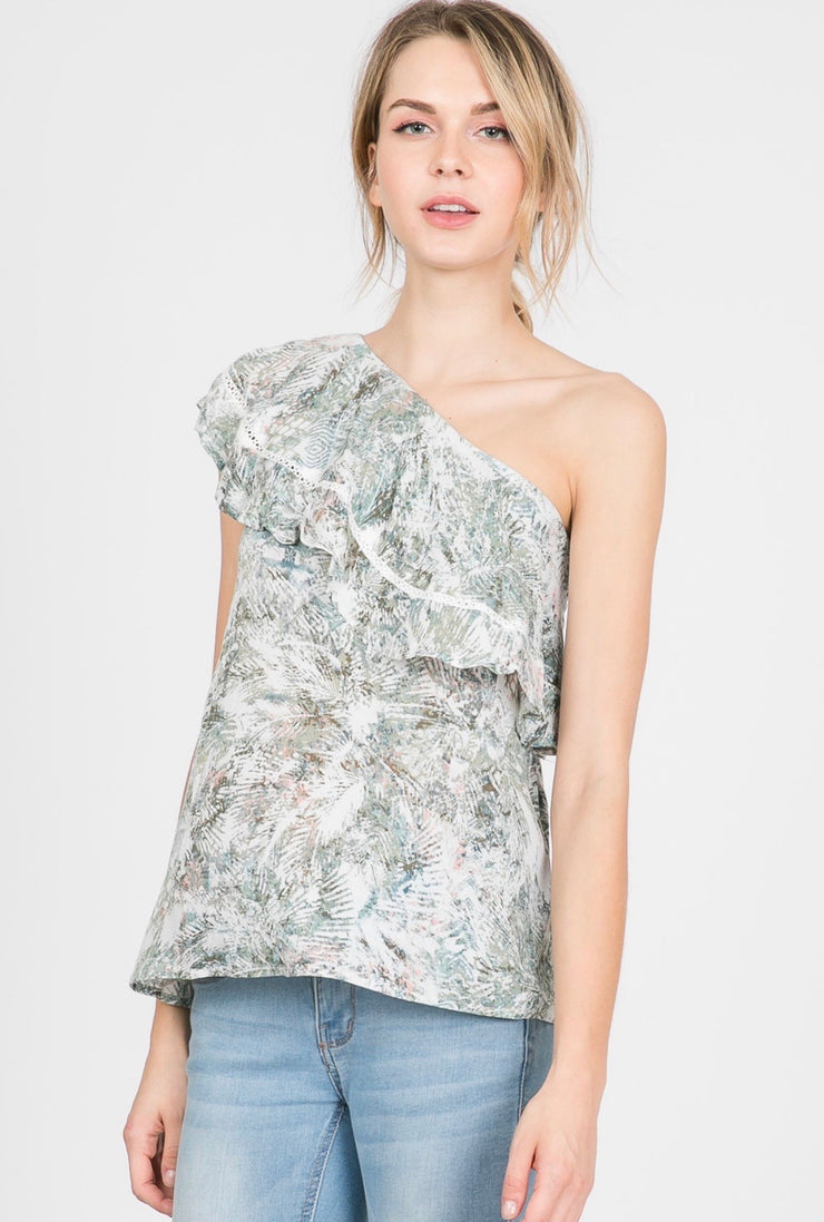 RUFFLE ONE SHOULDER TOP