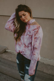 SUNSET SKIES SHOULDER CUT-OUT SWEATER