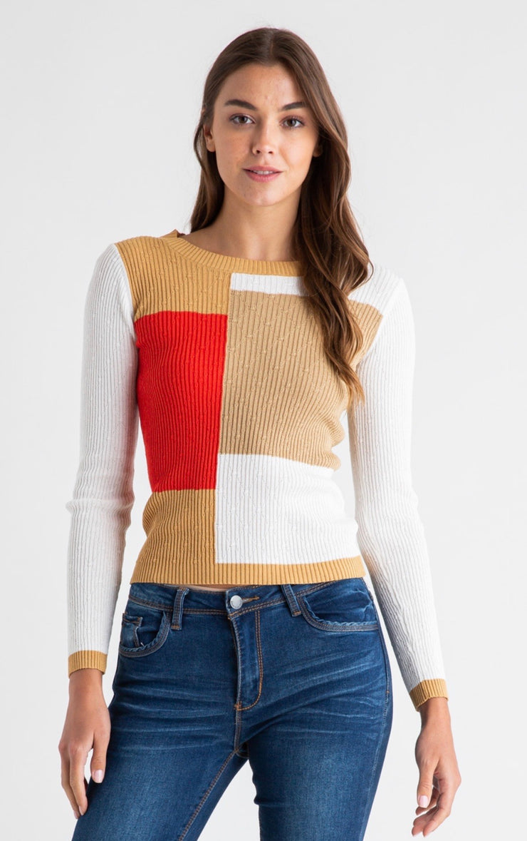 WE ARE YOUNG COLORBLOCK KNIT LONG SLEEVE
