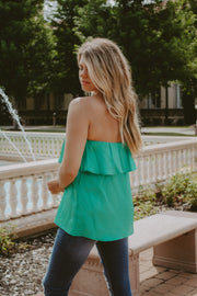 RUFFLE STRAPLESS TOP