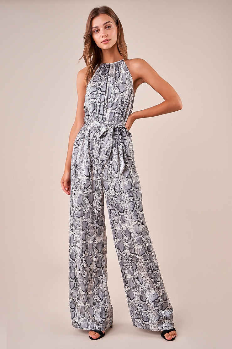 SAVANNAH SATIN SNAKESKIN JUMPSUIT