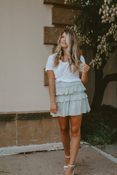 SMOCKED RUFFLED SKIRT
