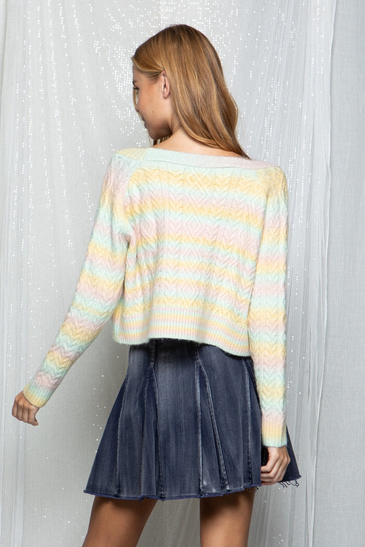 VERA RAINBOW STRIPED CROPPED SWEATER