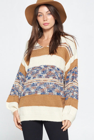 CHARLOTTE MIXED MEDIA STRIPED SWEATER