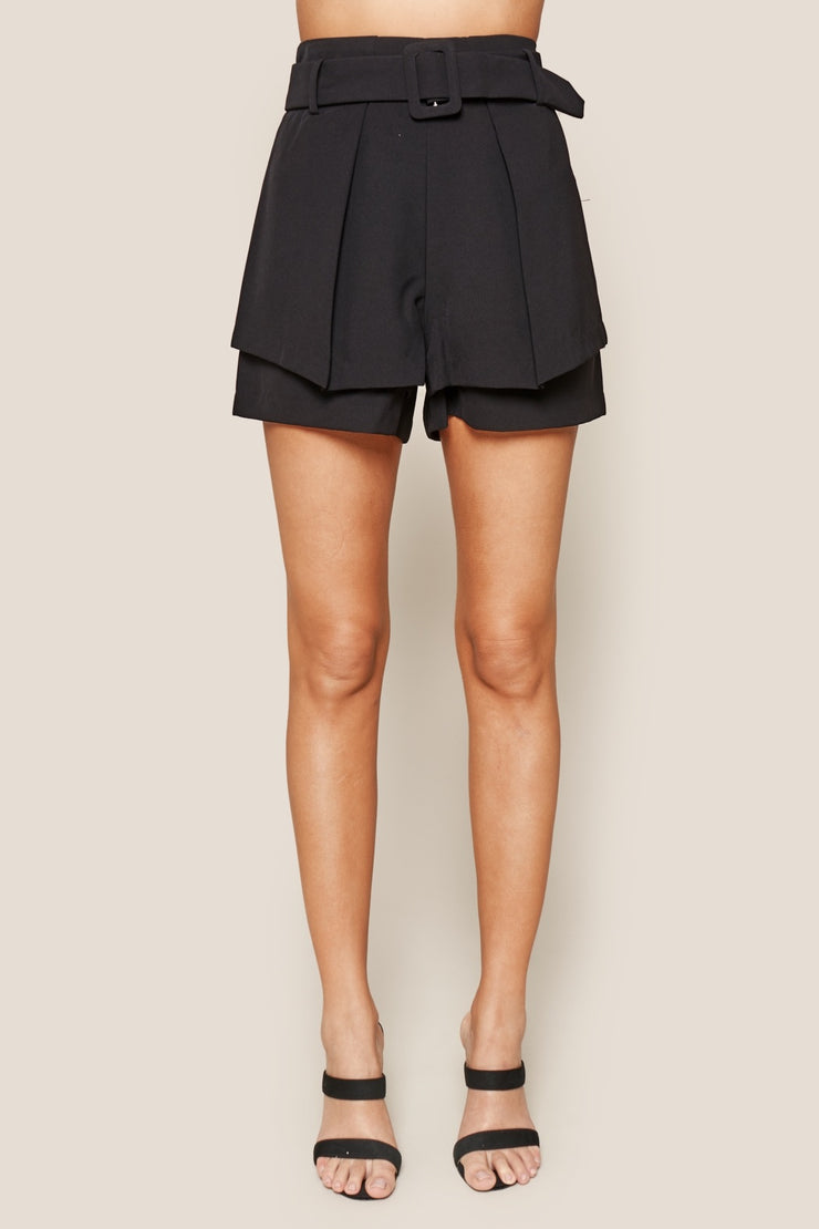 UPTOWN LAYERED BUCKLE SHORTS