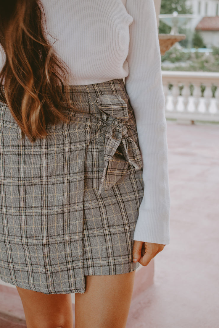 CHICK FLICK PLAID WRAP TIE MINI SKIRT